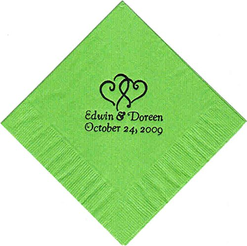 Monogrammed Cocktail Napkins - 100 Printed Personalized Beverage Cocktail Party Napkins
