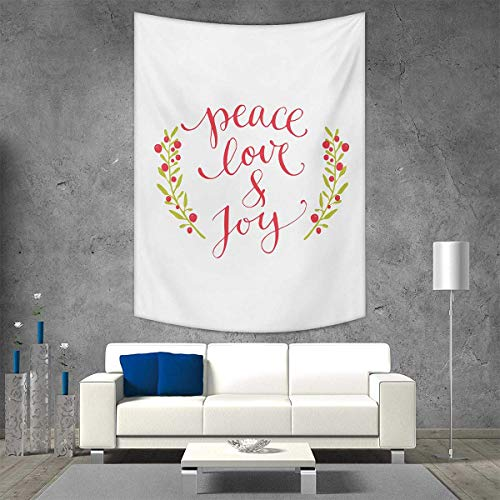 smallbeefly Quote Tapestry Table Cover Bedspread Beach Towel Peace Love Joy Calligraphic Xmas Text Winter Berries Wreath Dorm Decor Beach Blanket 60W x 80L INCH Dark Coral Yellow Green