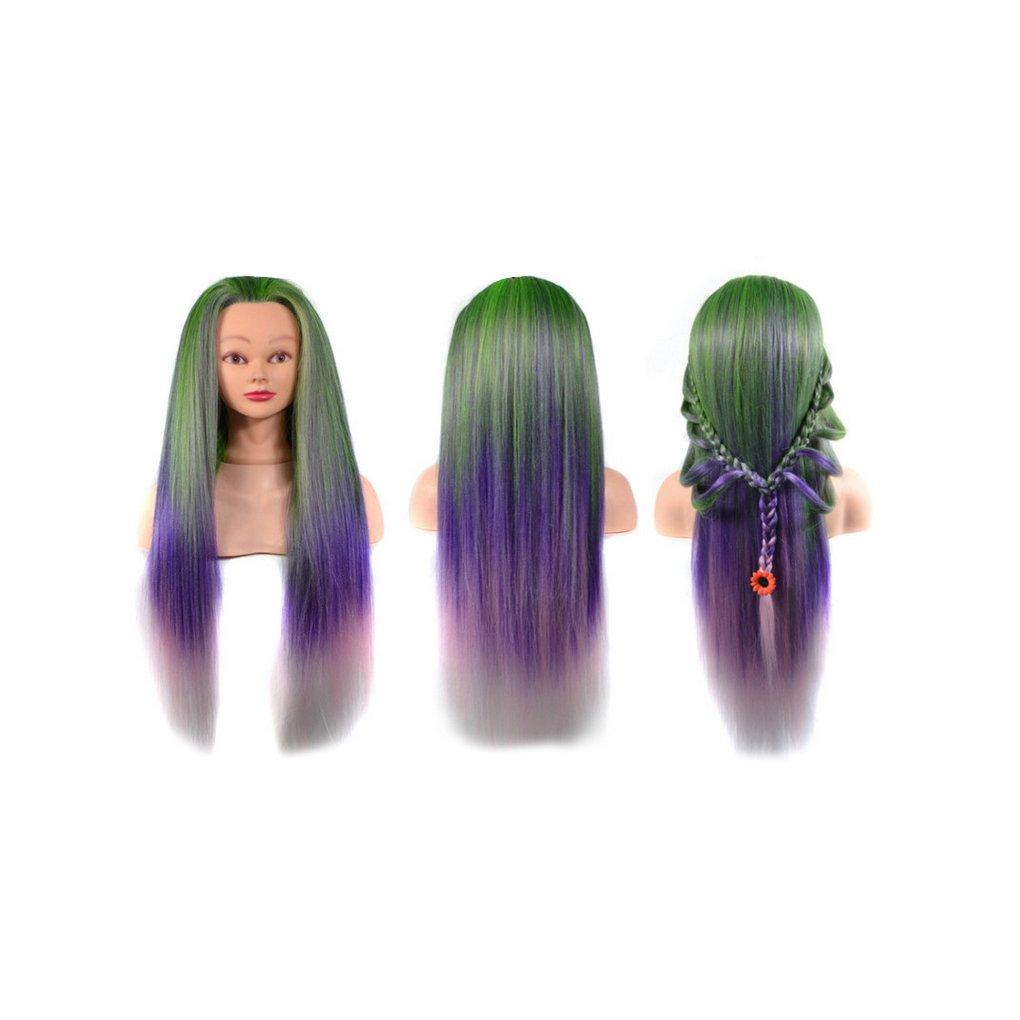 Zerama Highlights Synthetic Fiber Hair Doll Head Mannequin Model for Cutting Braiding Hair Training Practice
