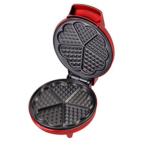 gs Red Metallic Heart Shape Waffle Maker ()