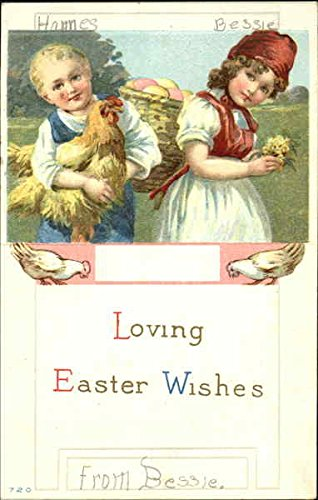 A Boy Holding a Hen with a Girl holding flowers and carrying a basket of eggs Original Vintage Postcard