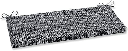 Pillow Perfect Outdoor Indoor Herringbone Night Bench Swing Cushion, 45 x 18 , Black