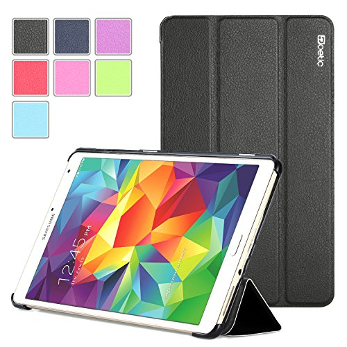 Samsung Galaxy Tab S 8.4 Case - Poetic Samsung Galaxy Tab S 8.4 Case [Slimline Series] - [Lightweight] [Ultra-slim] PU Leather Slim-Fit Trifold Cover Stand Folio Case for Samsung Galaxy Tab S 8.4 Black (3 Year Manufacturer Warranty From Poetic) (Samsung Galaxy Tab S Poetic)