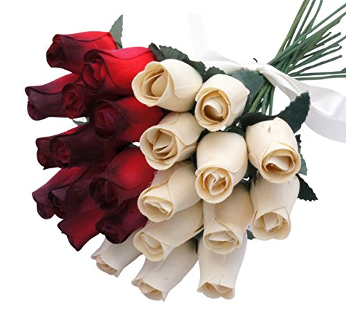 Orchid & Ivy 24 Beautiful Realistic Wooden Roses - Artificial Flowers - Winter Romance - Gift Boxed