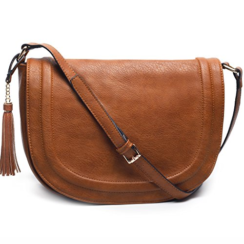 Brown Womens Messenger Bag (AMELIE GALANTI Womens Saddle Bag Tassles Shoulder Crossbody Bags with Flap Top)