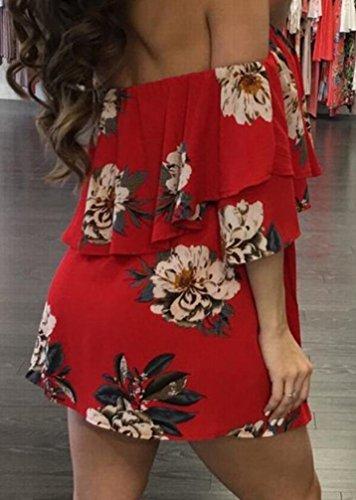 Domple Femmes Sexy Hors Volants Épaule Floral Taille-cravate Plissée Mini Rouge Robe