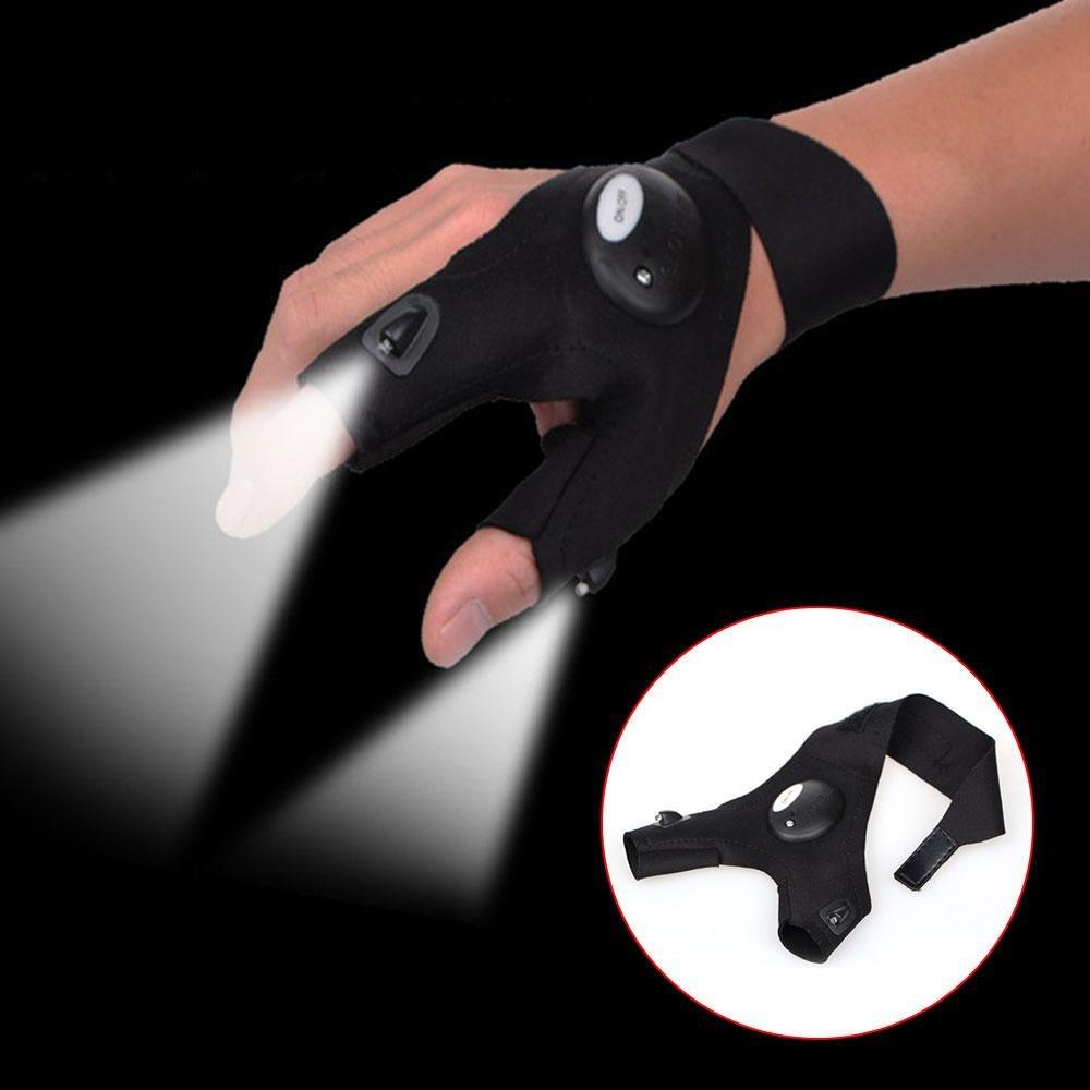 Pawaca Gants de Pêche de Nuit D'ét? Lampe de Poche LED, Illuminateur, Gants de Vélo, Adapt?pour la Randonnée, Activités de Plein Air de Nuit, Réparation de Voiture Thumb Thumb Gloves - Main Droite