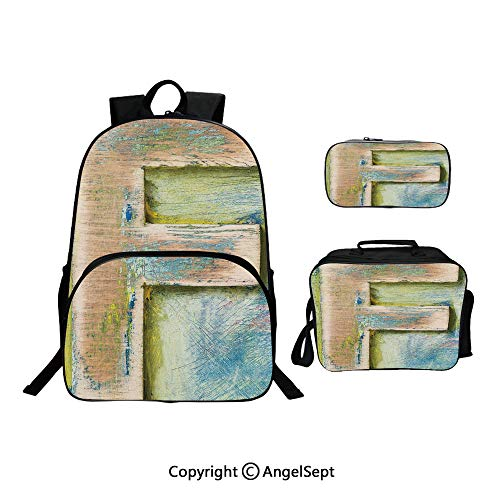 Backpack With Lunch Bag Pencil Bag Three-piece,Damaged Worn Uppercase F Printing Symbol Antique Letterpress Block Typeface Green Blue Tan,For Girls Water Resistant Colorful Christmas Gifts