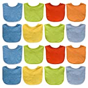 Neat Solutions Solid Colored Terry Feeder Bibs Boy, Multi, 16 Count