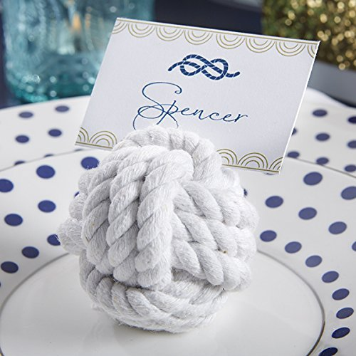 (Kate Aspen Place Card Holders (Place Cards Included) - Set of 12 - Table Number Holder for Weddings, Nautical Cotton Rope Photo Holder for Table Assignments at Bridal Showers or)