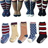Baby Anti Slip Toddler Cotton Socks 5 Pairs Walker Unisex Boy Girl Infant Non Skid Slip Knit Knee High Cotton Long Socks Wih Grips For 1-3 Years Review