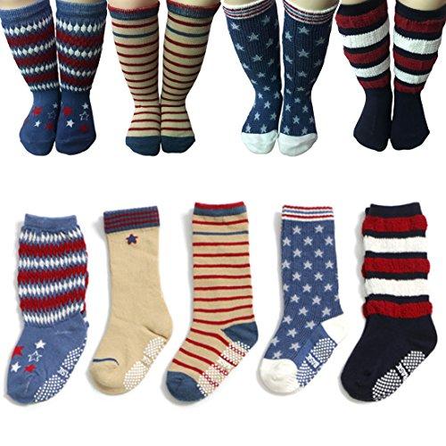 Baby Anti Slip Toddler Cotton Socks 5 Pairs Walker Unisex Boy Girl Infant Non Skid Slip Knit Knee High Cotton Long Socks Wih Grips For 1-3 Years