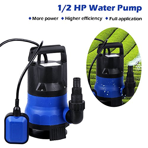 Submersible Sump Pump,Voluker 1/2 HP Water pump Clean/Dirty Water 15ft Cable and Float Switch (Blue) - 3 Pump Pond
