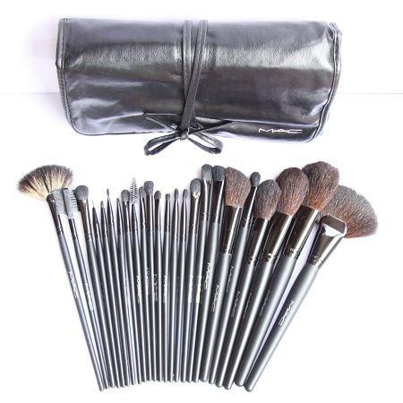 d981d513fd87 MAC 24 Pieces Professional Makeup Brush Set - In Leather Pouch   Amazon.co.uk  Kitchen   Home