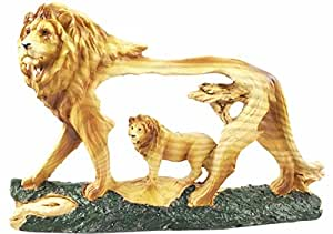 Rústico de madera sintética de Majestic africanos pradera orgullo león escultura figura decorativa de escena