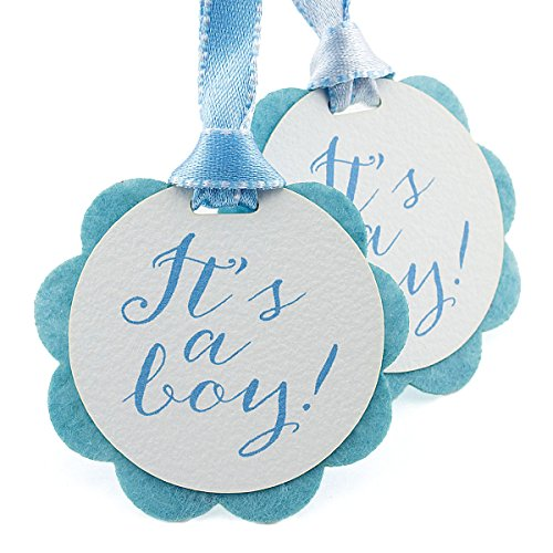 Summer-Ray 50pcs It's a Boy Double Layer Baby Shower Favor Gift Tags