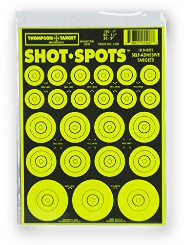 Shot Spots Green - Self Adhesive Peel & Stick Gun Range Shooting Targets 6 x 9 Inches (10 pack) ()