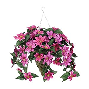 House of Silk Flowers Artificial Pink Clematis in Beehive Hanging Basket 103