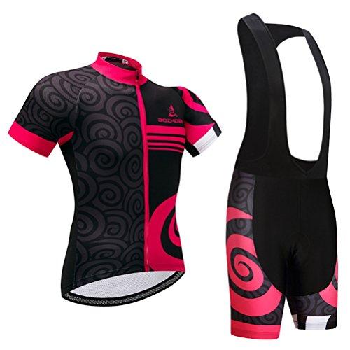 Uriah Women's Cycling Jersey Black Bib Shorts 3D Gel Padded Sets Short Sleeve Black Circle Size M(CN)
