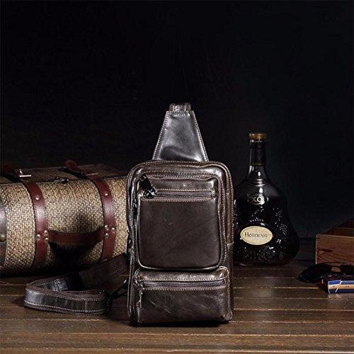 Celendi Men's Leather Chest Pack Sling Crossbody Shoulder Bag Small Backpack (Black)
