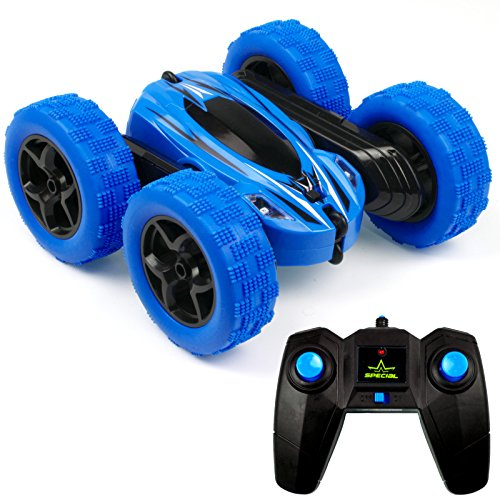(Cheerwing RC Car 4WD 2.4Ghz Stunt Car Double Sided 360° Flip Remote Control Monster Truck Rock Crawler Led Headlights 1: 24 Scale Slot Car Rc Toys, Blue)