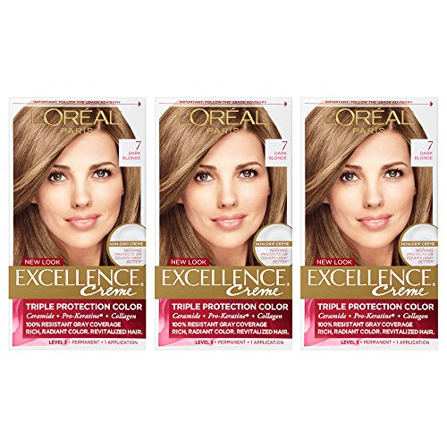 L'Oreal Paris Excellence Creme Permanent Hair Color, Dark Blonde (Pack of 3)