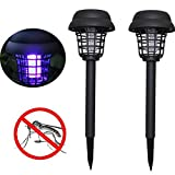 Sunshinehomely Solar Powered Bug Zapper Light,2PC Solar Powered LED Light Mosquito Pest Bug Trap Zapper Insect Killer Lamp for Garden Lawn Patio Yard