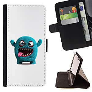 DEVIL CASE - FOR Sony Xperia M2 - Funny Blue Monster - Style PU Leather Case Wallet Flip Stand Flap Closure Cover