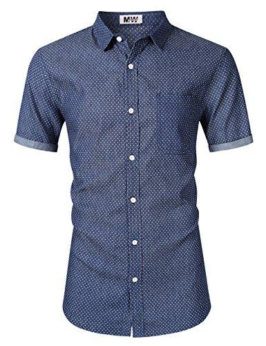 MrWonder Men's Casual Slim Fit Long Sleeve Button Down Dress Shirts Denim Shirt (XS, Dot Blue) -