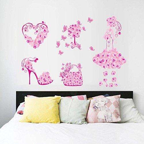 Wall Sticker, Hatop New Butterfly Flower Fairy Stickers Bedroom Living Room  Walls (C)