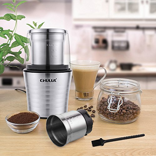 CHULUX Electric Spices and Coffee Grinder with 2.5 Ounce Two Detachable Cups for Wet/Dry Food,Powerful Stainless Steel Blades and Cleaning Brush by CHULUX (Image #6)'