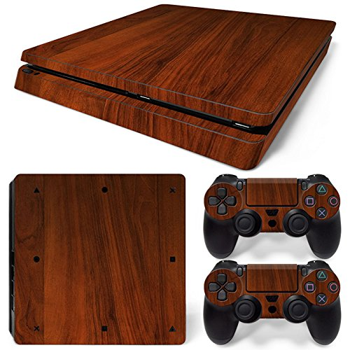 ModFreakz Console/Controller Vinyl Skin Set - Dark Finished Wood for PS4 Slim