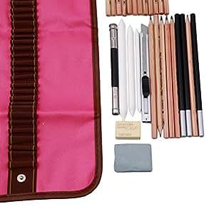 sourban Sketching Pencil Set Lienzo Bolsa de transporte de lápices goma de borrar Craft cuchillo lápiz Extender total para principiantes artista
