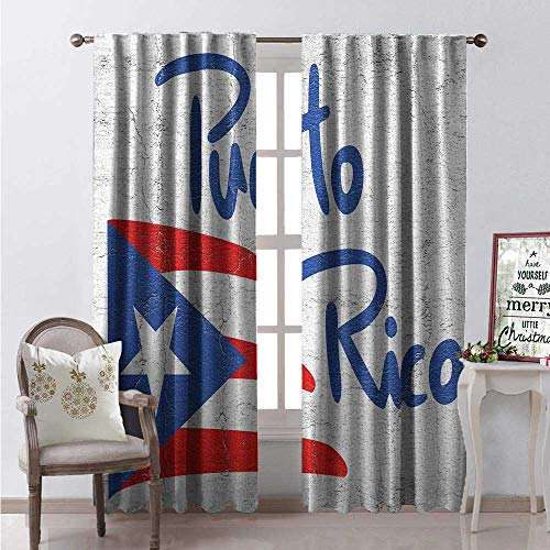 Puerto Rico Window Curtain Fabric Hand Drawn Flag and Lettering Weathered Background Drapes for Living Room W108 x L84 Cobalt Blue Pale Taupe Vermilion