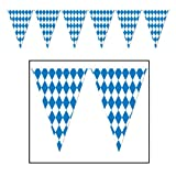 Arts & Crafts : Beistle 120 Foot Oktoberfest Bavarian Check Flag Pennant Banner