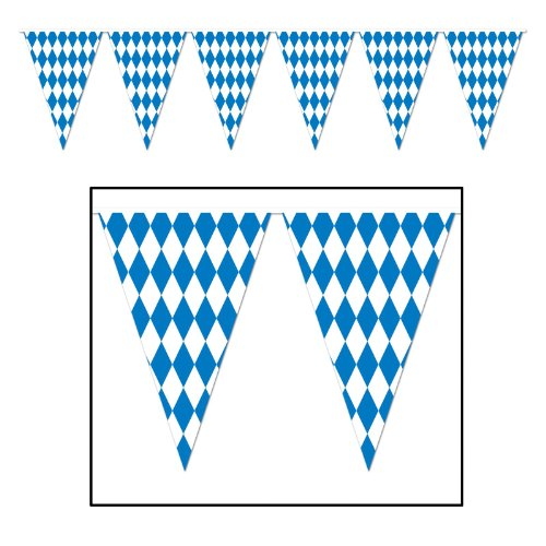 Beistle 120 Foot Oktoberfest Bavarian Check Flag Pennant Banner