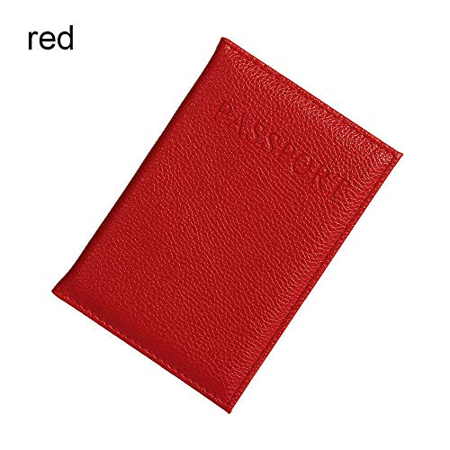 Travel Passport ID Card Holder Case Cover Faux Leather Protector Holder Little | Color - Red ()