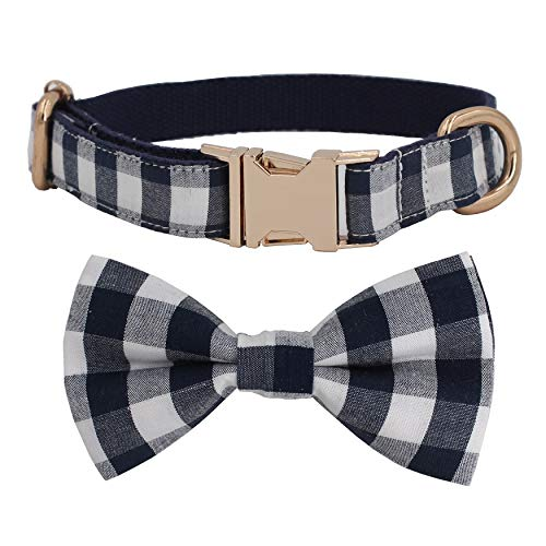 Free Sunday Cool Navy Blue Gingham Plaid Dog Bow Tie Dog Collar Adjustable Dog Collar for Small Dog, Medium Dog, Large Dog (Bowtie Collar, S (8''-12'' Length))