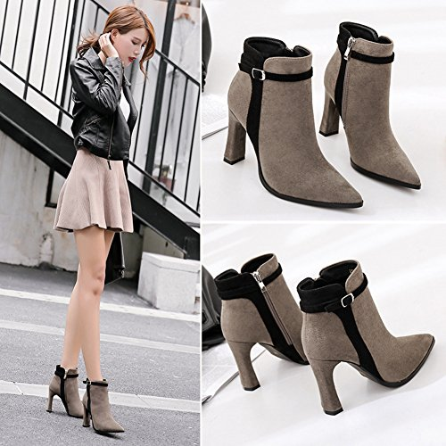 BERTERI High New Ankle Head Boots Boots Naked Gray Shoes Suede Heel Winter Pointed Martin Women Boots 11Irx