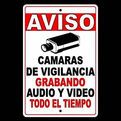 CCTV Warning Security Audio Video Surveillance Camera Sign Spanish Safety
