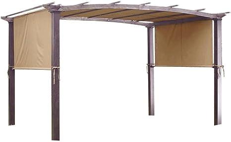 17 x 6,5 pies Toldo Pergola Universal Reemplazo Tapa Shade estructura marrón poliéster resistente al agua w/6 ojales y 4 correas para resistente al ...