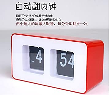 La reloj Retro Flip Idyllique páginas automatiquement Le Flop, alors que el reloj, rojo: Amazon.es: Hogar