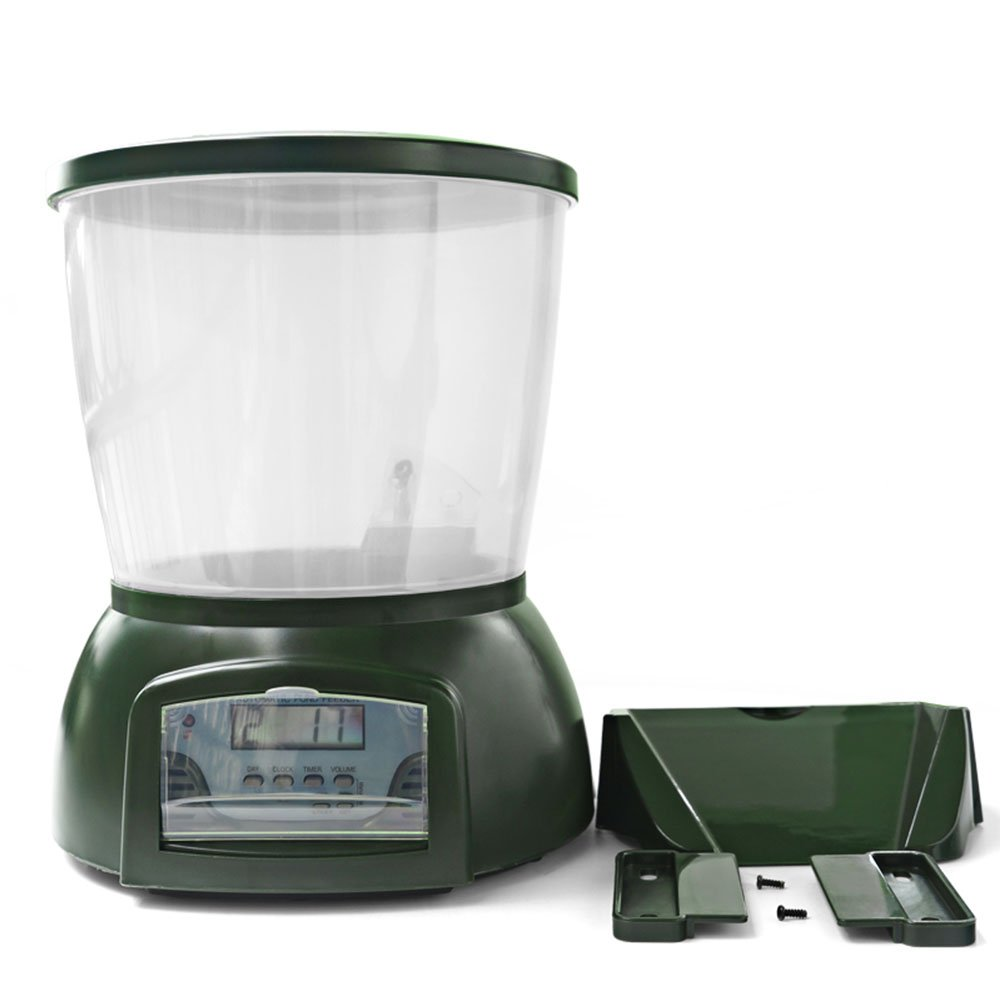 MeterMall Automatic Pond Fish Feeder Fish Food Dispenser Digital Aquarium Timer Feeder with LCD