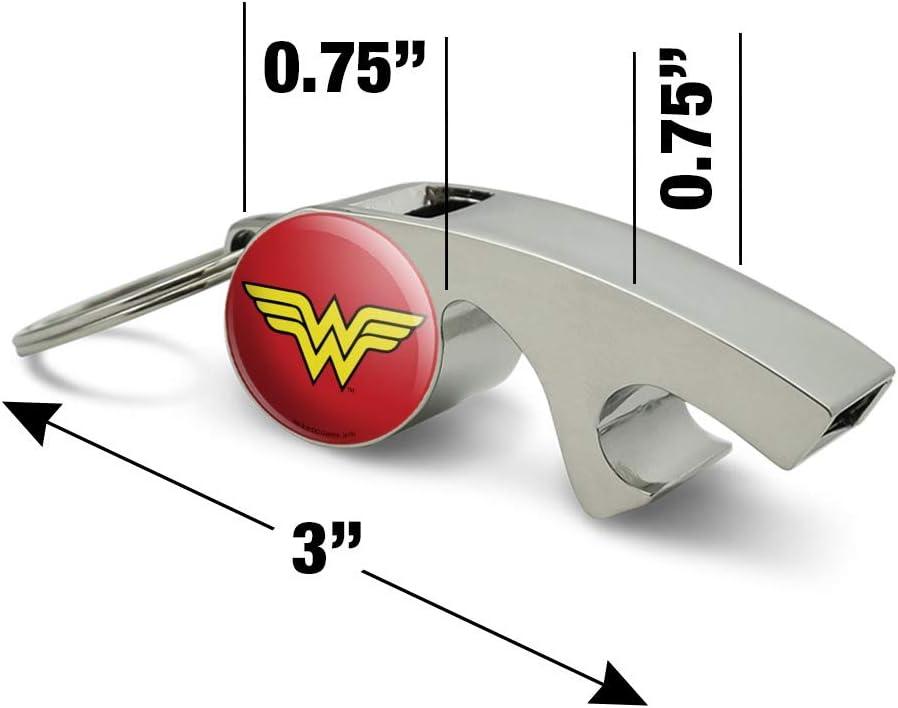 Wonder Woman Classic Logo Keychain Chrome Plated Metal Whistle Bottle Opener