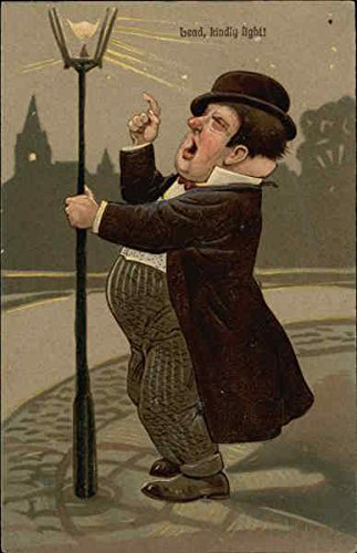 - Bead, Kindly Light! - Fat Man holding Lamp Post Drinking Original Vintage Postcard