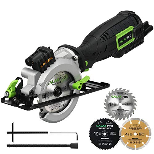 Circular Saw, GALAX PRO 5.8A 3500RPM 4-1/2″ Professional Corded Circular Saw with Laser Guide, Rip Guide, Vacuum Adapter, 3Pcs Blades plus 1 Hex Wrench, Max Cutting Depth 1-11/16″(90°), 1-1/8″(45°)