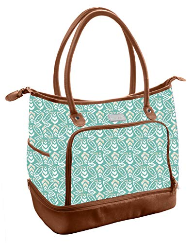 (Fit & Fresh Voyager Travel/Commuter Tote Bag with Insulated Section for Lunch, Snacks and Drinks, Carry On, Zippered Shoulder Bag, Turquoise Stamped Rings )