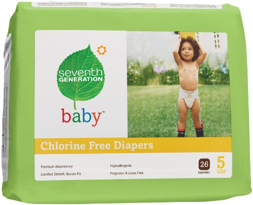 Seventh Generation Chlorine Free Diapers, Stage 5 27+ lbs. 104 per case 1 case by Seventh Generation