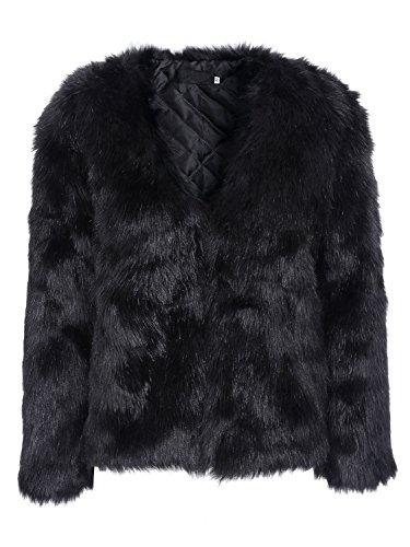 Simplee Apparel Womens Winter Warm Long Sleeve Fluffy Faux Fur Coat Jacket -