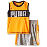PUMA Little Boys' Active Tank and Short Set, Orange Gray, 6